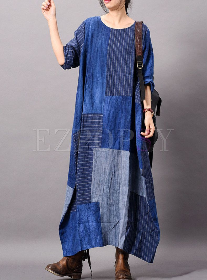 ce234c4a3095 Casual Striped Splicing O-neck Loose Maxi Dress