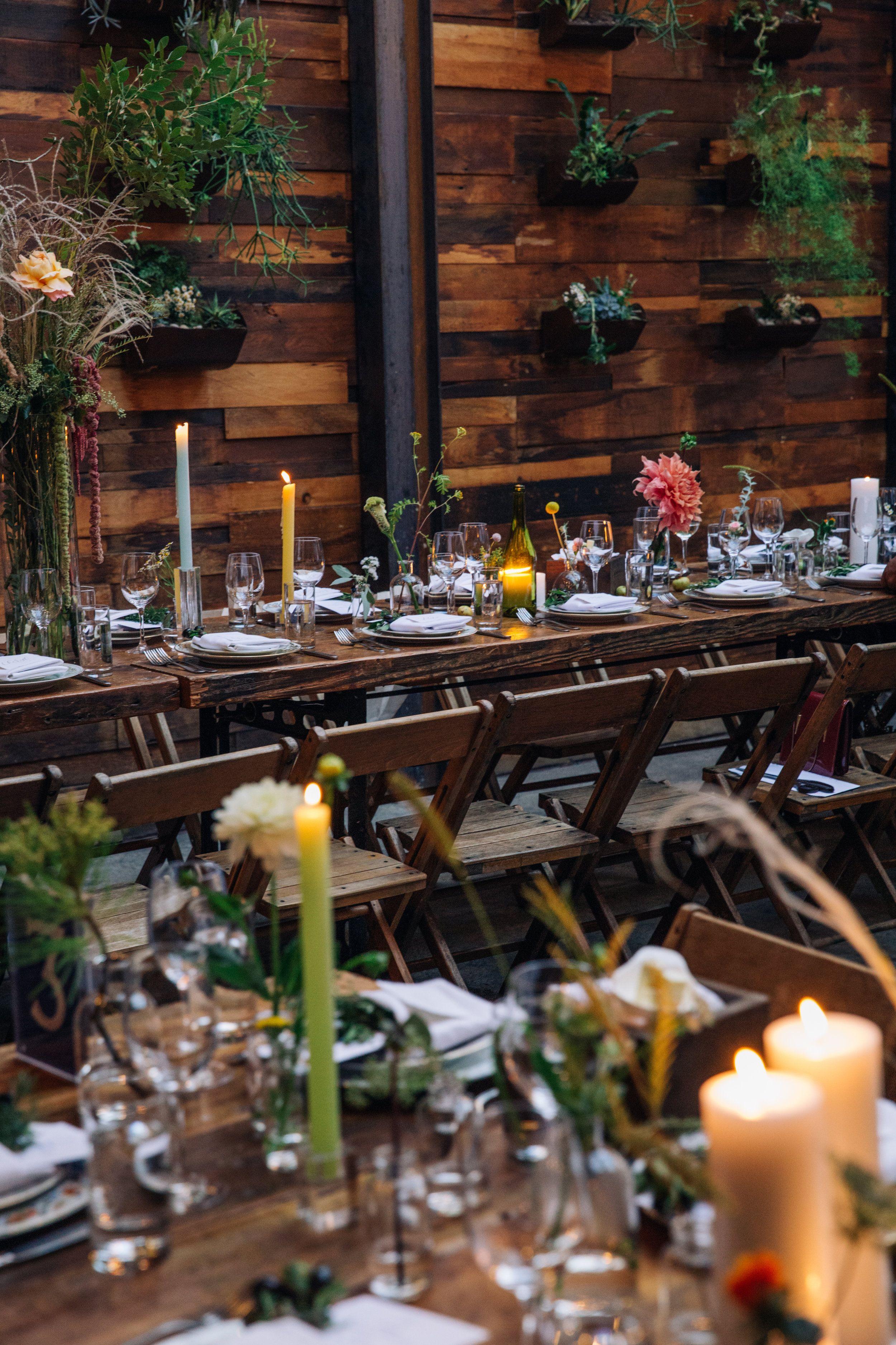 Wedding dinner set at Brooklyn Winery. Brooklyn winery