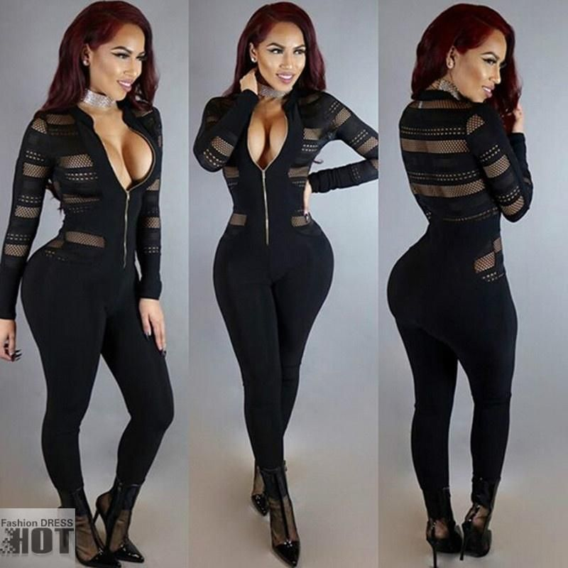 335d3b358620 Rompers Womens Jumpsuit Fashion Stand Up Collar Zipper Long Sleeve Bodysuit  Sexy Gauze Splicing Club Overalls  Body-Suit  Collar  Fashion