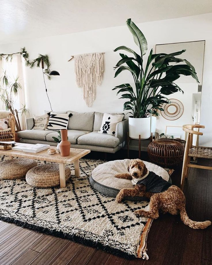 Modern Boho Living Room Ideas. Inspiration for a modern bohemian living room wit...