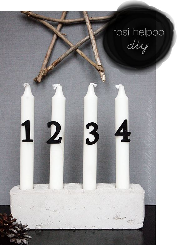 DIY Concrete Advent Candle Holder  | Esmeralda's