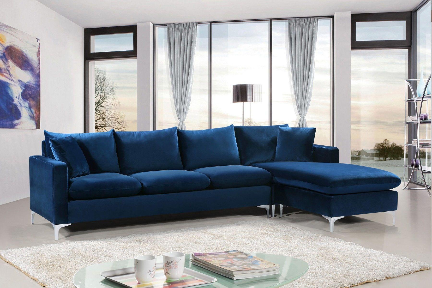 Meridian Naomi Navy Rf Contemporary Velvet Reversible Sofa Living Room Sofa Sectional Sofa Gold Sofa