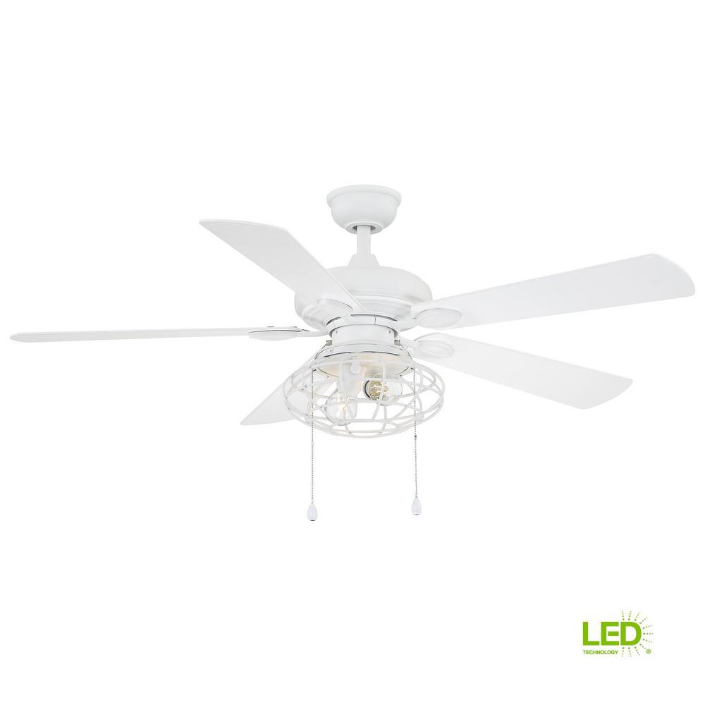 Home Decorators Collection Ellard 52 In Led Matte White Ceiling Fan With Light Kit Yg629 Mwh The Home Depot White Ceiling Fan Ceiling Fan With Light Ceiling Fan