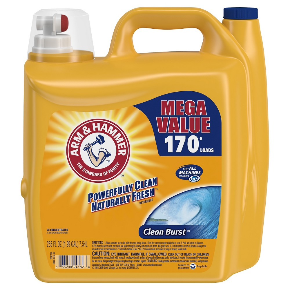Arm Hammer Clean Burst Liquid Laundry Detergent 255 Fl Oz