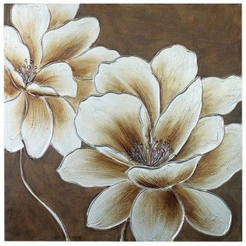 Flower Canvas Wall Art grey/silver canvas painting | home » silver / bronze flower canvas