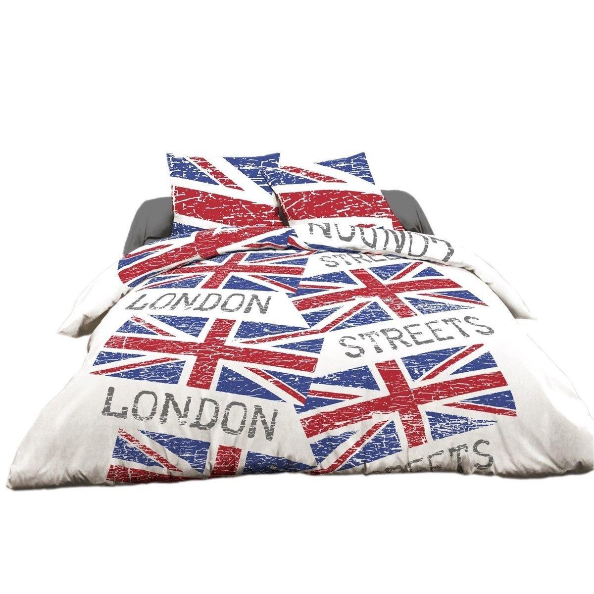 Parure 4 Pieces Modele London Steets Red Lit 140 Taille 140x190 Cm Housse De Couette Couette Housses