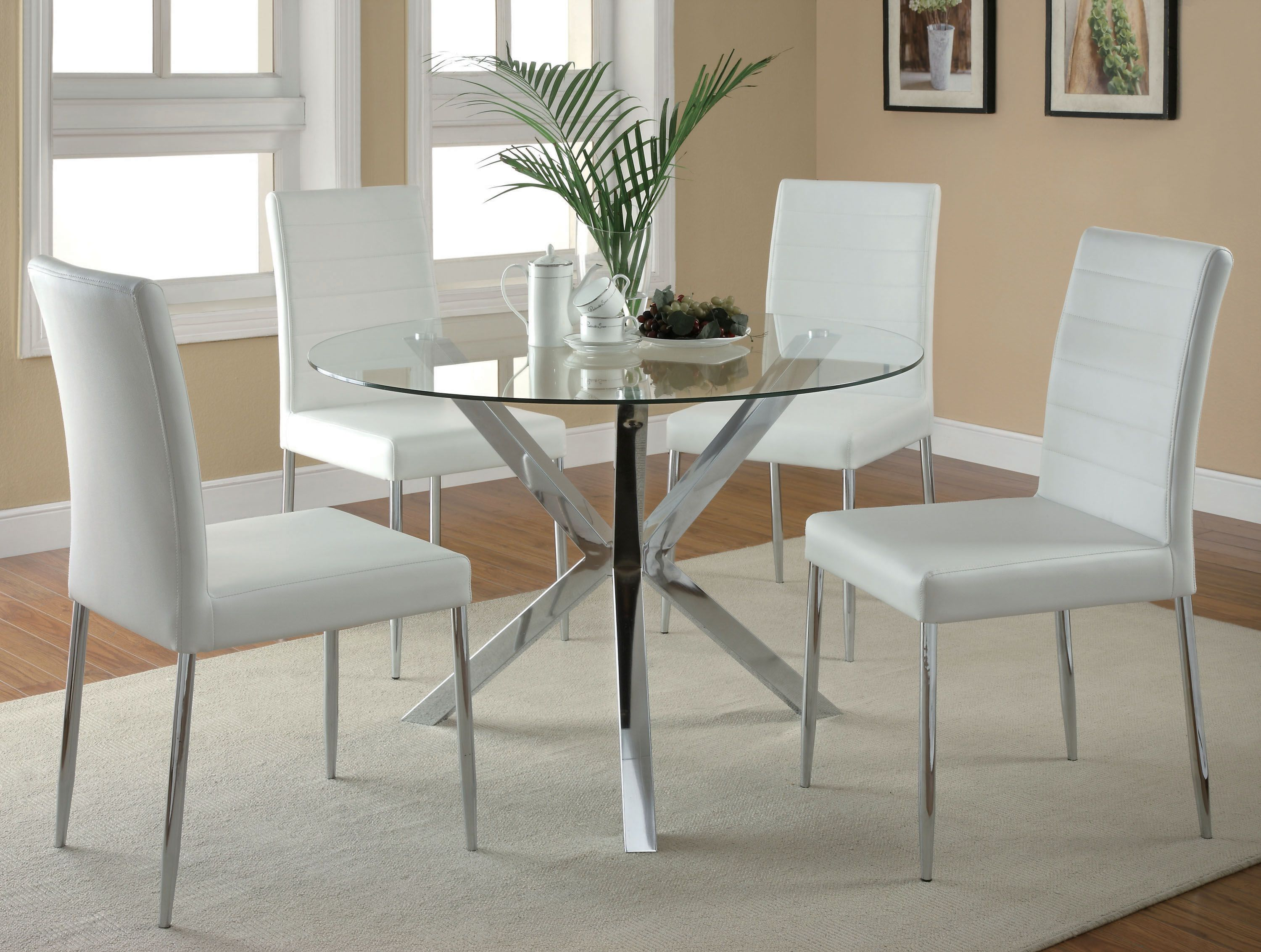 Coaster Vance Contemporary 5 Pc Glass Top Table And White