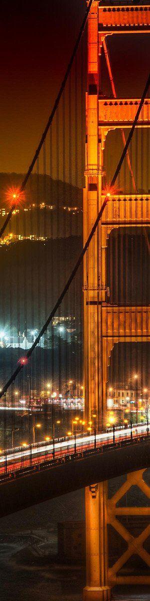 San Francisco's Golden Gate Bridge at Night - Long, Tall, Vertical Pins.