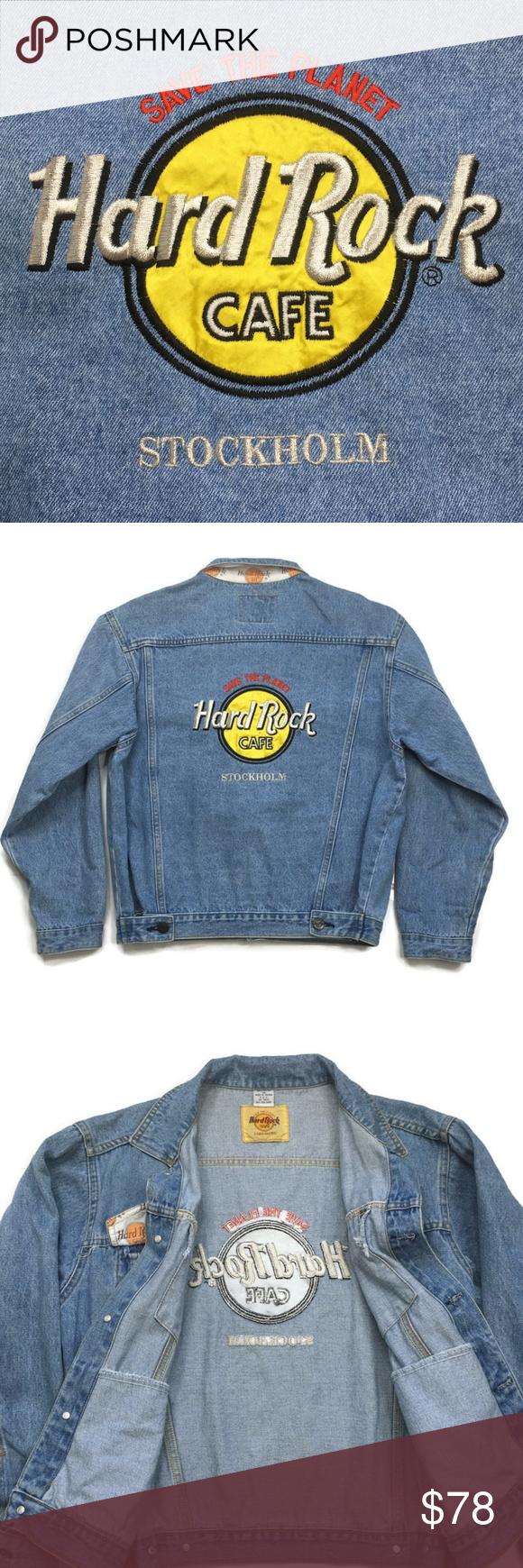 Vntg Hard Rock Cafe Womens Denim Jacket Stockholm Denim Jacket Women Denim Women Cafe Jacket [ 1740 x 580 Pixel ]