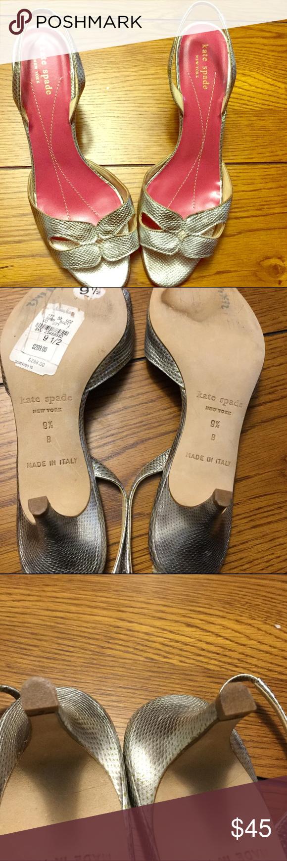 Kate Spade Slingback Kitten Heel Sandals Silver, in great shape. Very Pretty !!! kate spade Shoes Sandals