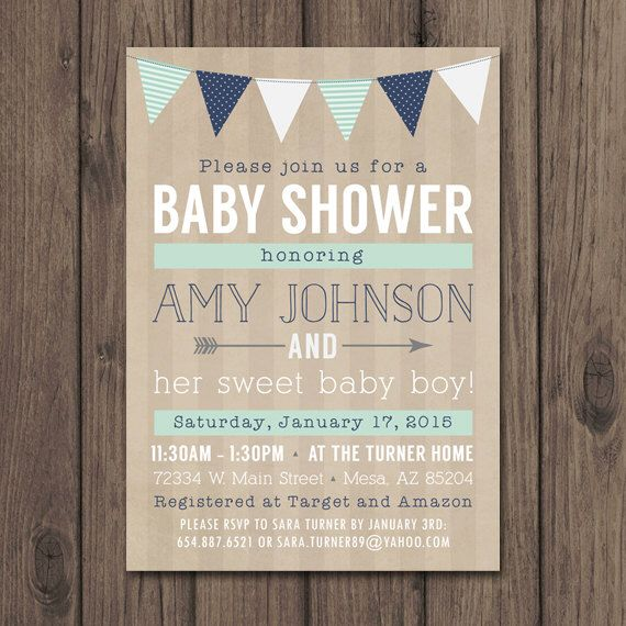 rustic baby shower invitation baby boy shower invitation mint and