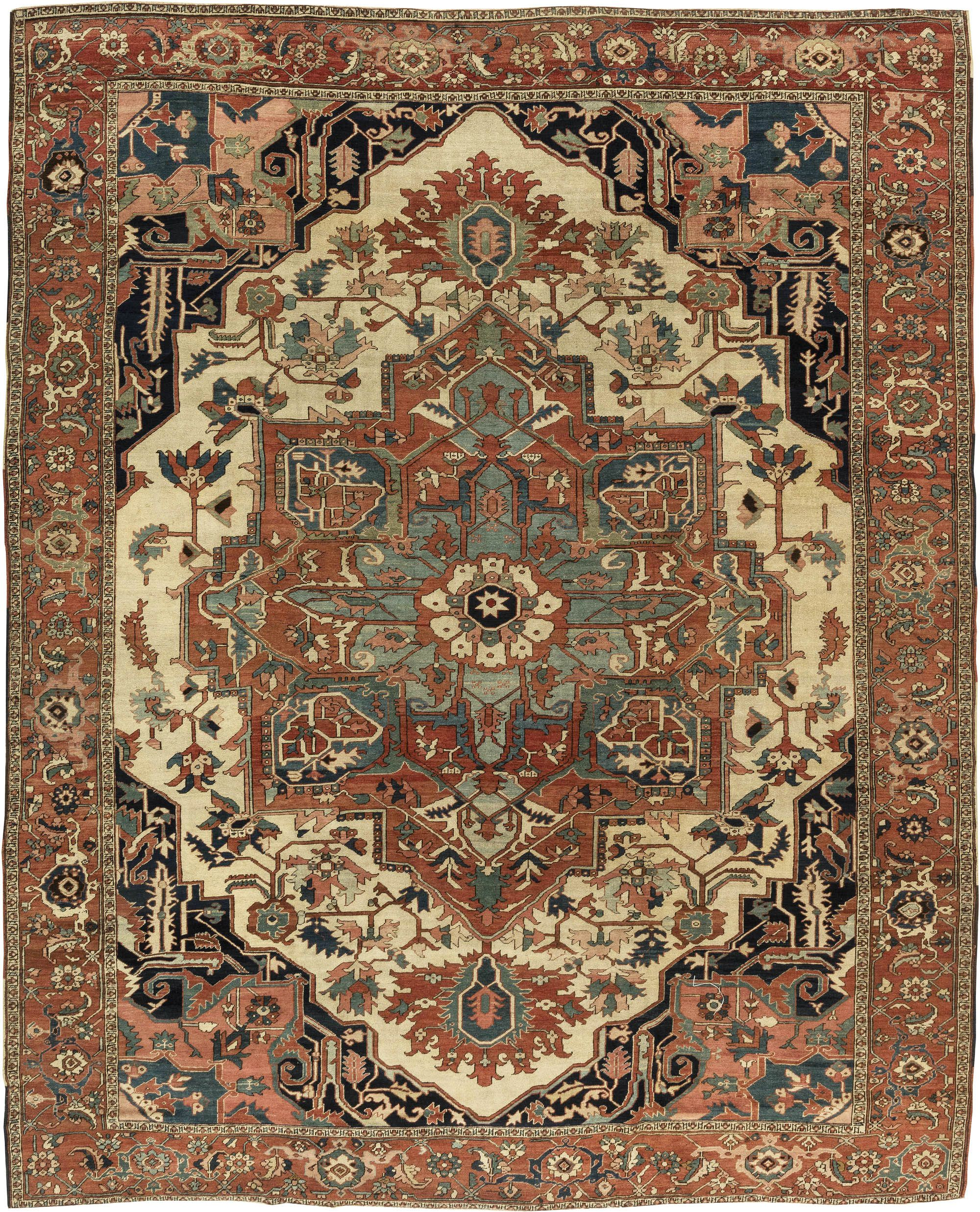 Rusty Beige Pale Green And Brown Persian Heriz Carpet Bb6847 By