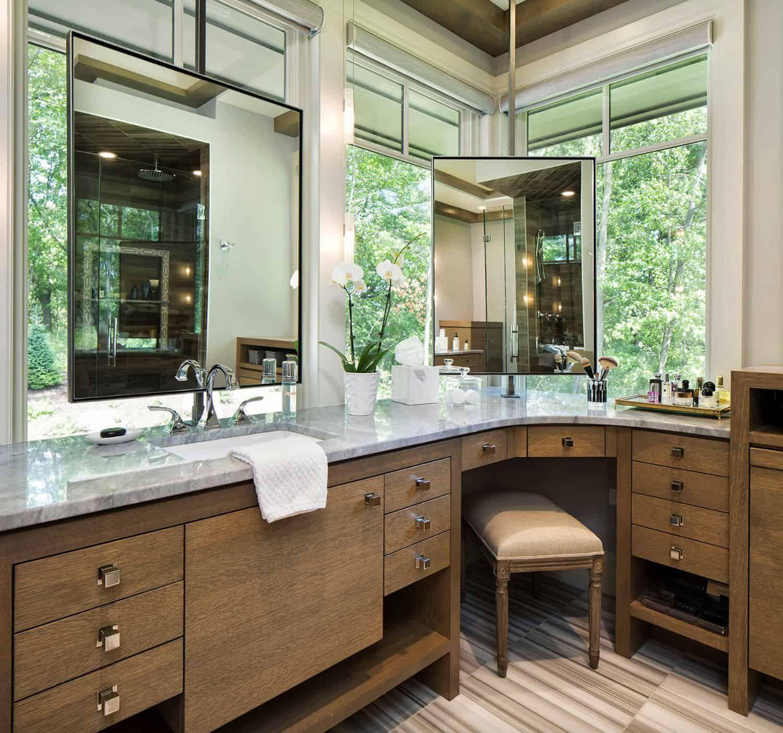 Exquisite Organic Modern Home On A Wooded Property In Minnesota Small Bathroom Remodel Bathrooms Remodel Corner Bathroom Vanity