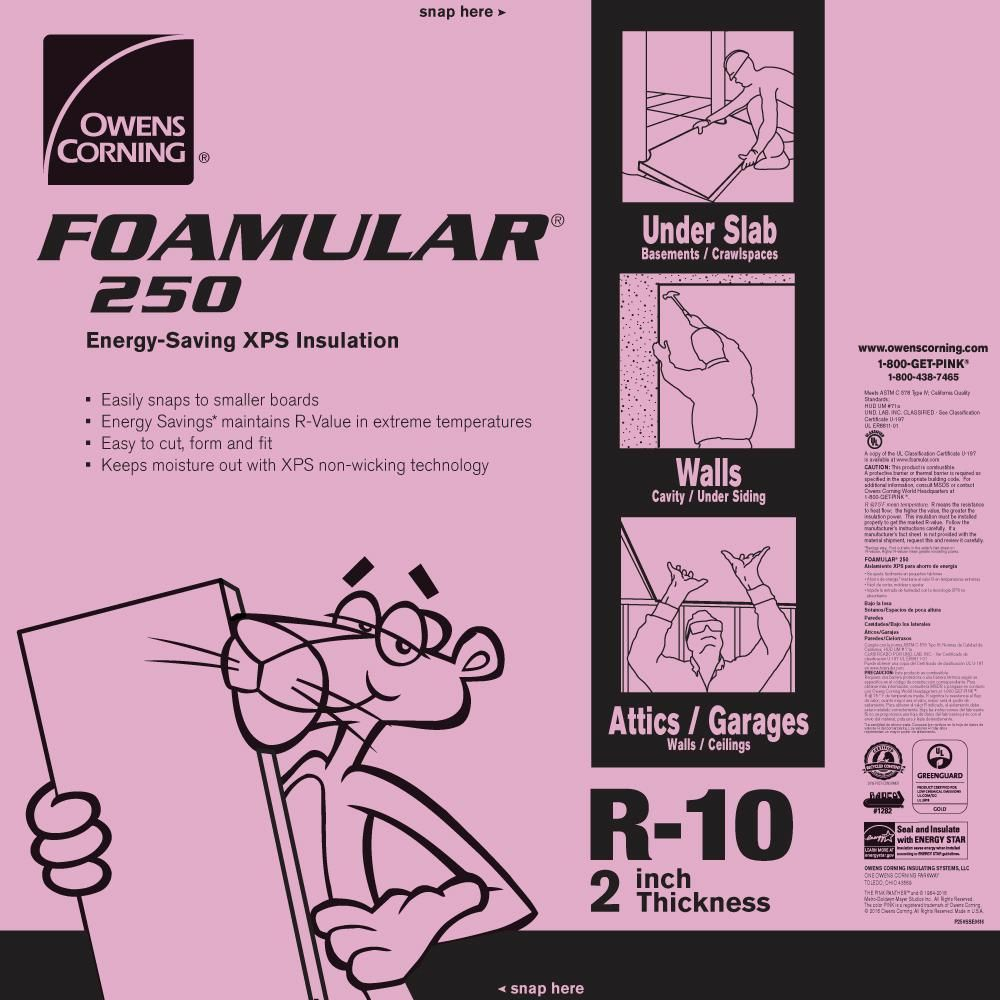 Owens Corning Foamular 250 2 In X 48 In X 8 Ft R 10 Scored Squared Edge Insulati Foam Insulation Board Rigid Foam Insulation Extruded Polystyrene Insulation