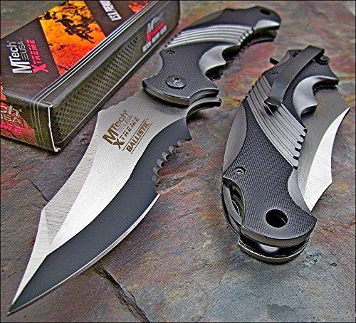 Amazon.com   Mtech Xtreme Ballistic Black Grey Assisted Tactical Flipper  Pocket Knife (1 Knife)   Sports   Outdoors eb267cb19c