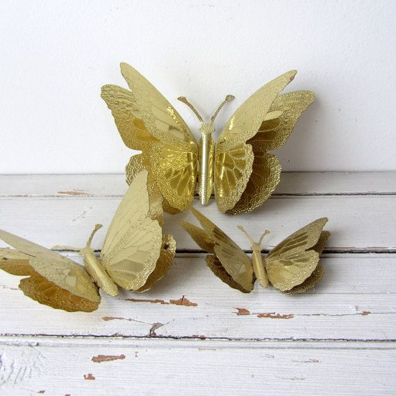 RESERVED 5 Vintage / Gold Tin Butterflies / Wall Decor | Butterfly ...
