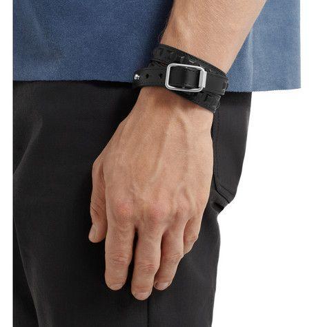 Balenciaga Studded Leather Wrap Bracelet