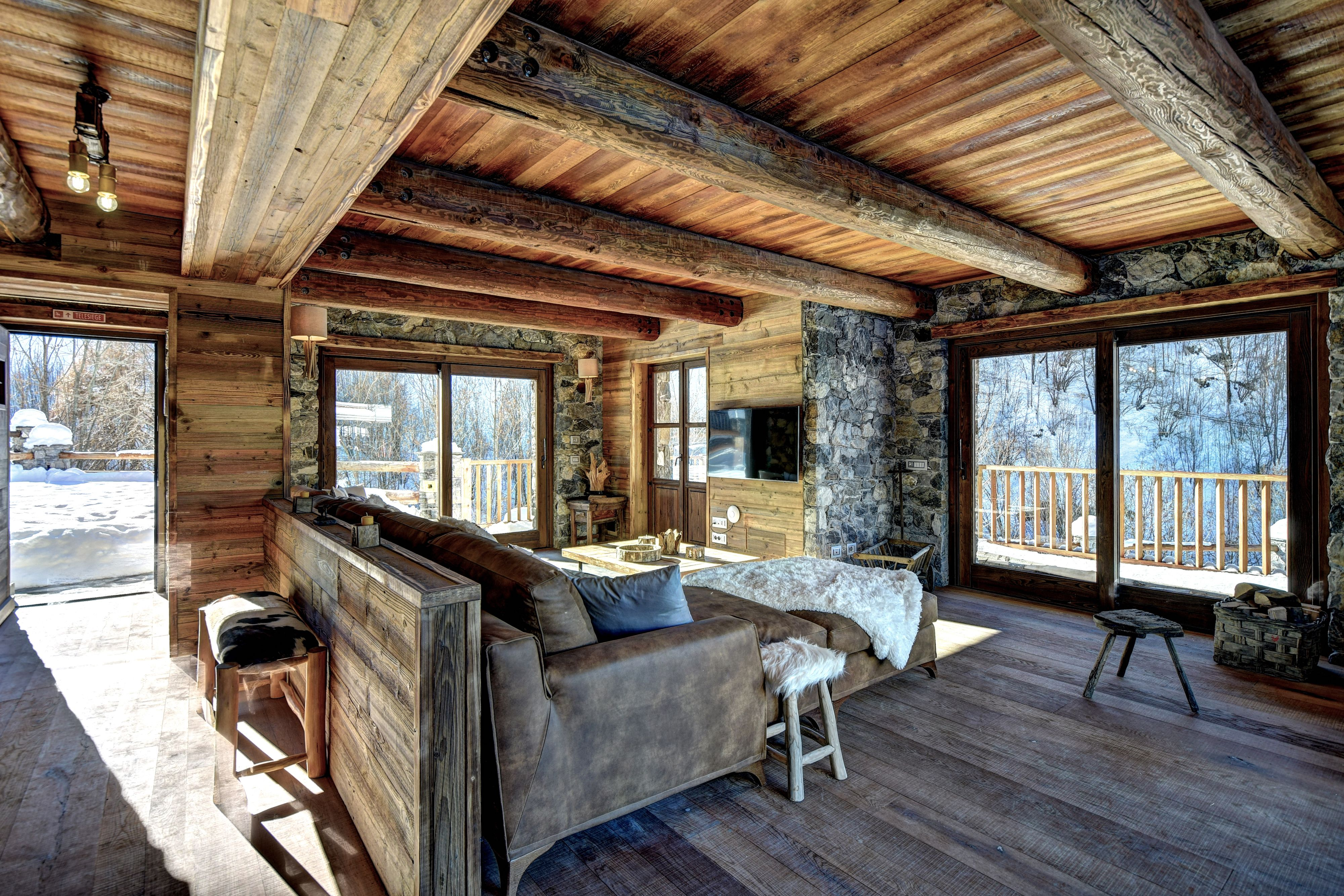 ski chalet furniture. Ski Chalet Living Room With Leather Sofa, Wooden Floor And Furniture. Big Windows Furniture R