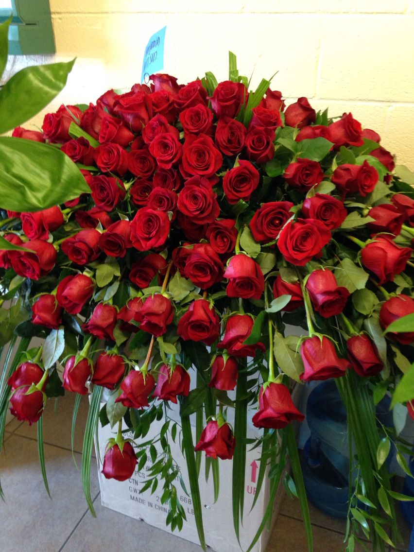 All red roses casket spray. Debs flowers baskets and stuff ...