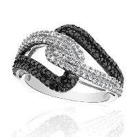 Diamond and Black Diamond Ring 3/4ctw - Size 7  #Reeds