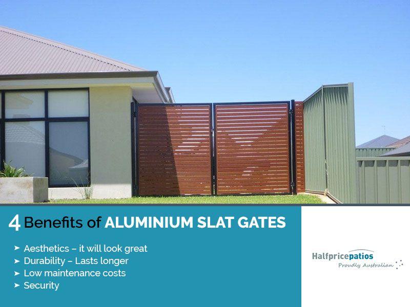 4 Benefits Of Aluminium Slat Gates Aesthetics It Will Look Great Durability Lasts Longer Low Maintenance Costs Securi Timber Deck Patio Pergola