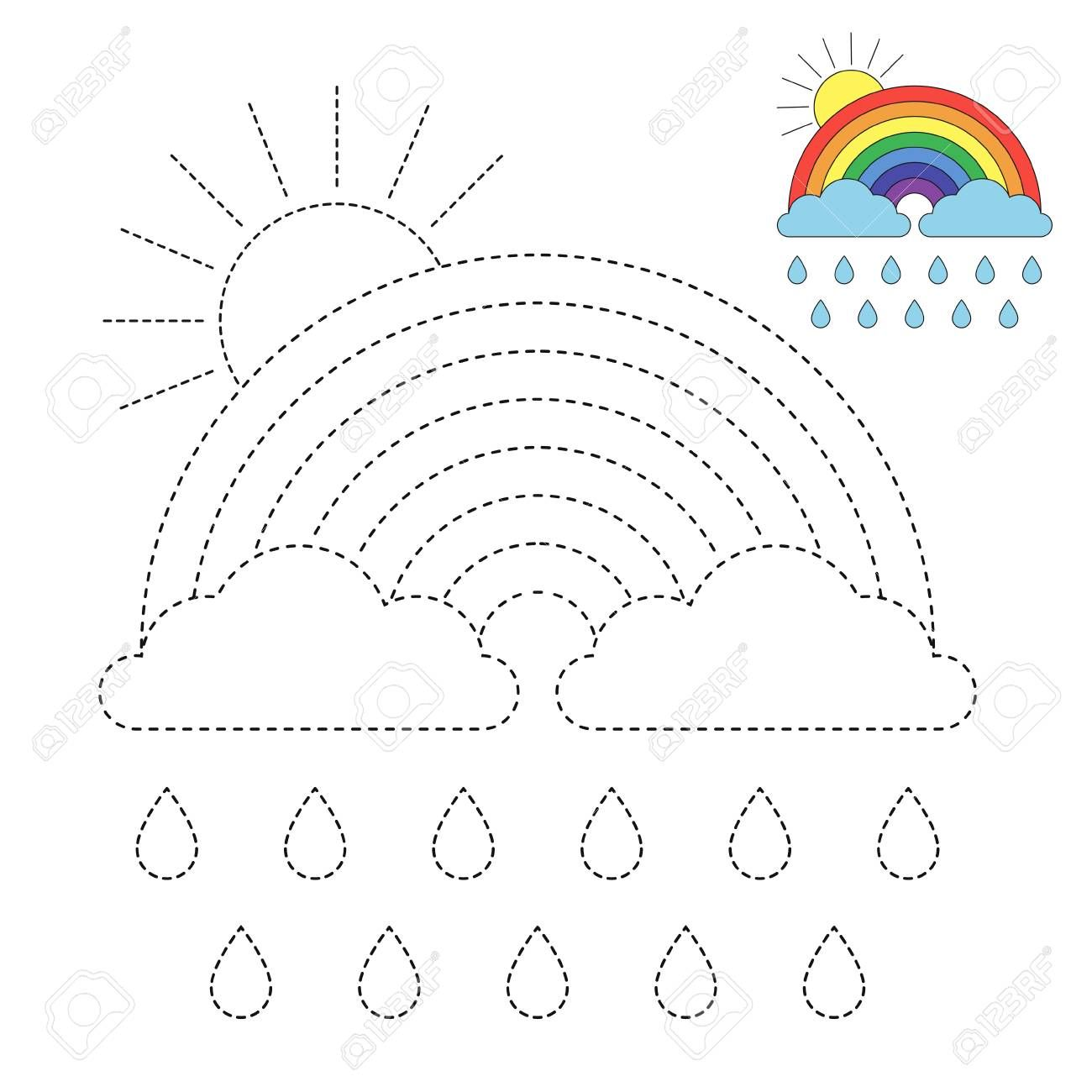 Vector Drawing Worksheet For Kids Simple Educational Game For Royalty Free Cliparts Vectors And Worksheets For Kids Rainbow Drawing Fun Worksheets For Kids - Download Easy Kindergarten Drawing Worksheets Pictures