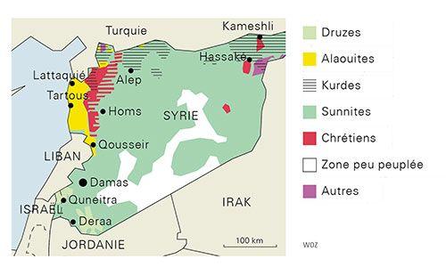 Carte Religions Syrie Autres Yezidi Syrie Proche Orient Liban