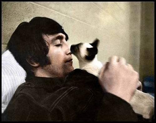 John Lennon being kissed by a cat. | Siamese cats, John lennon, Cat people