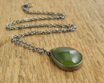 Australian CHRYSOPRASE,  sterling silver oxidized necklace.