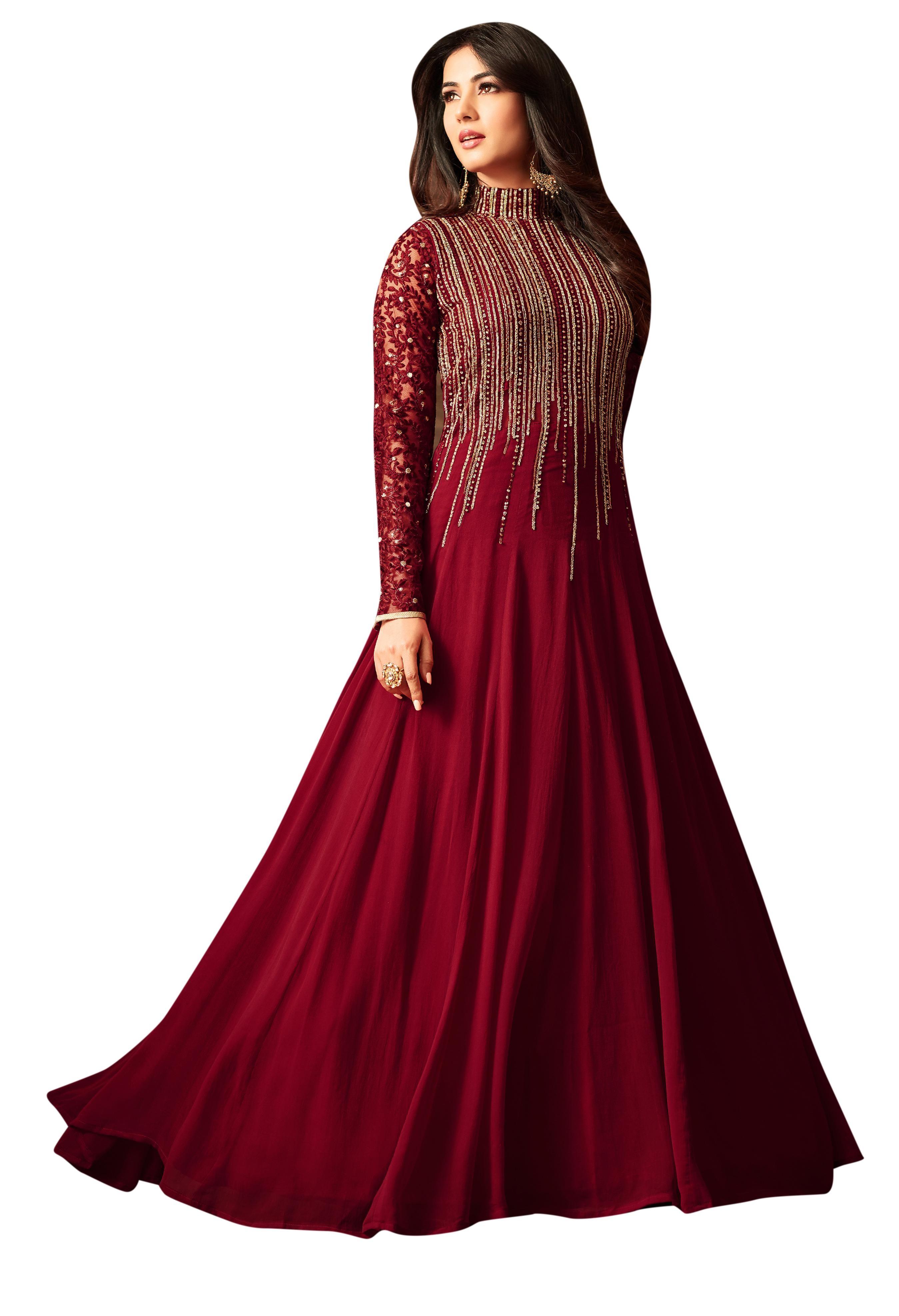 b509f885e5 Maroon Georgette Sequin Embroidered Anarkali Suit | Brijraj Fashion ...