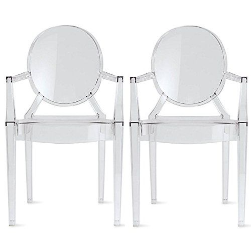 Amazon.com - 2xhome - Set of 2 Modern Ghost Chair Armchair with Arm Polycarbonate Plastic (Clear) -