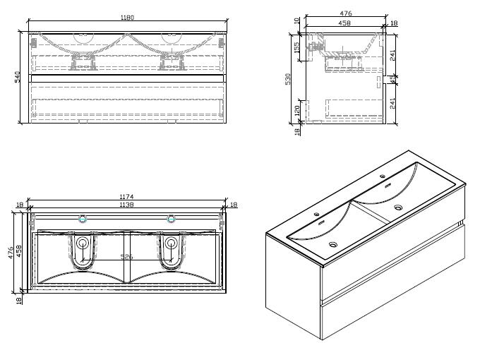 Meuble salle de bain design double vasque SIENA largeur 120 cm Chêne Clair  - Le Monde b4f48076254e