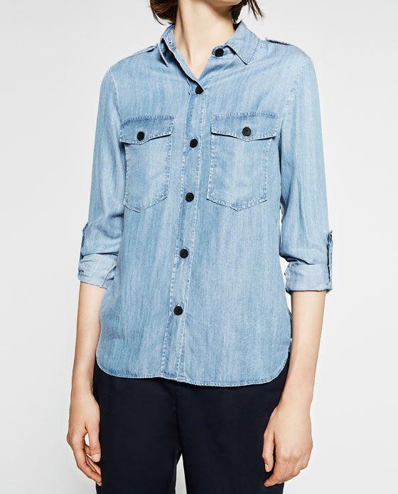 CAMISA MILITAR DENIM | Military shirts, Womens tops, Zara tops
