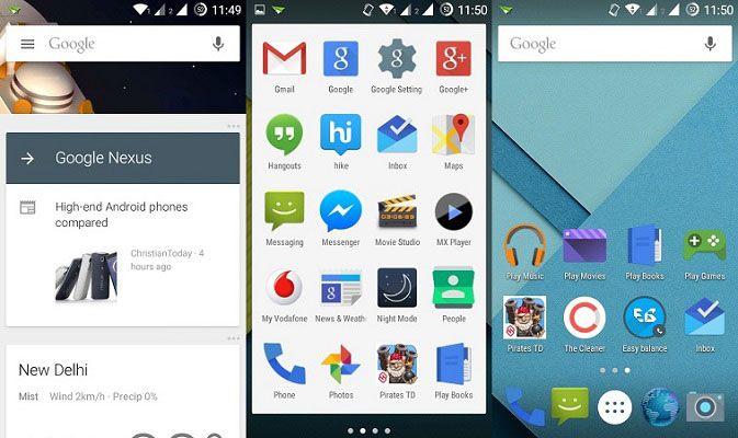Long pressing the app drawer button on the Google Now