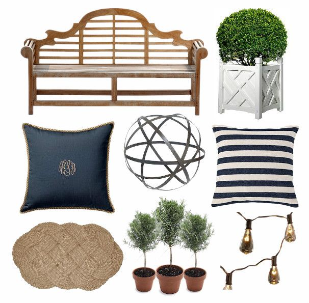 Chippendale Planters With Blue And White Chinoiserie   Bench / Chippendale  Planter / Monogram Pillow /