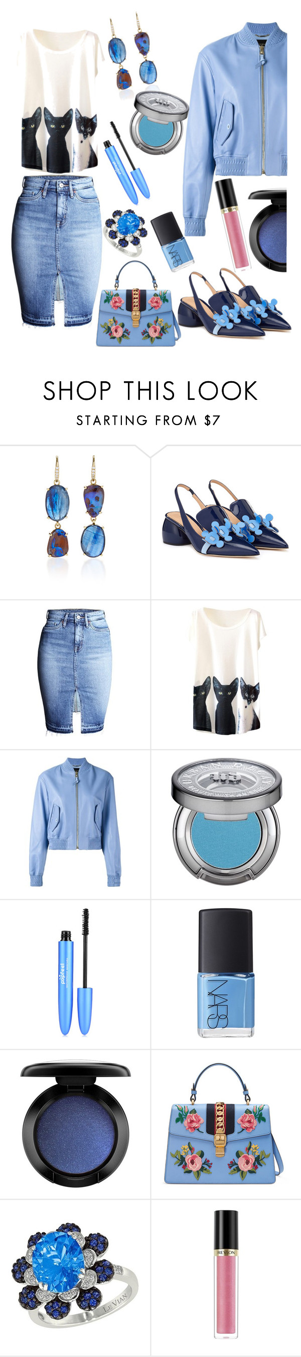 """Untitled #924"" by lisacom ❤ liked on Polyvore featuring Lauren K, Anya Hindmarch, Versace, Urban Decay, NARS Cosmetics, MAC Cosmetics, Gucci, LE VIAN and Revlon"