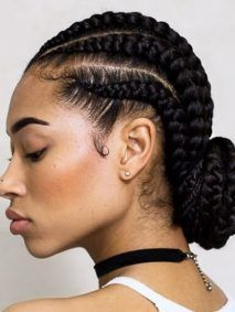 Low Bun Ghana Braids Styles Braided Hair Pinterest Hair Styles