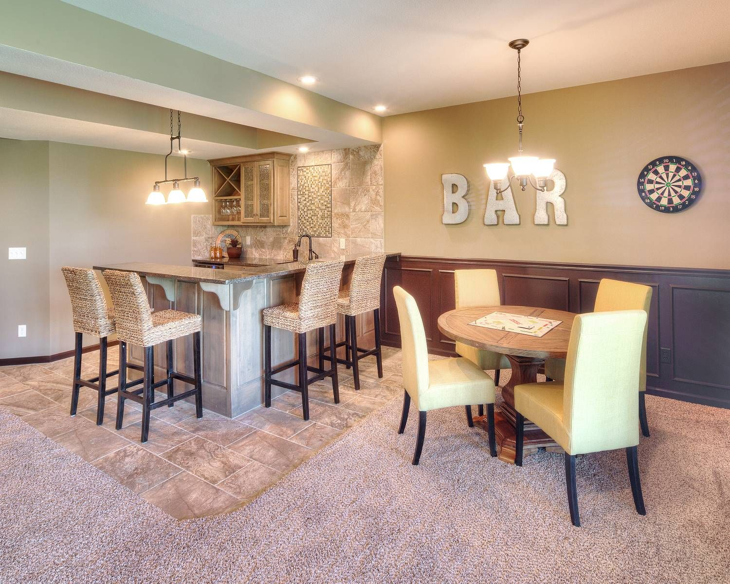 Wet Bar And Casual Dining Space In Basement Rec Room Of The Meadowbrook Floor Plan From