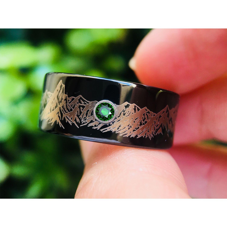 Mens Wedding Band, Mountains Ring, Mens Ring, Tungsten