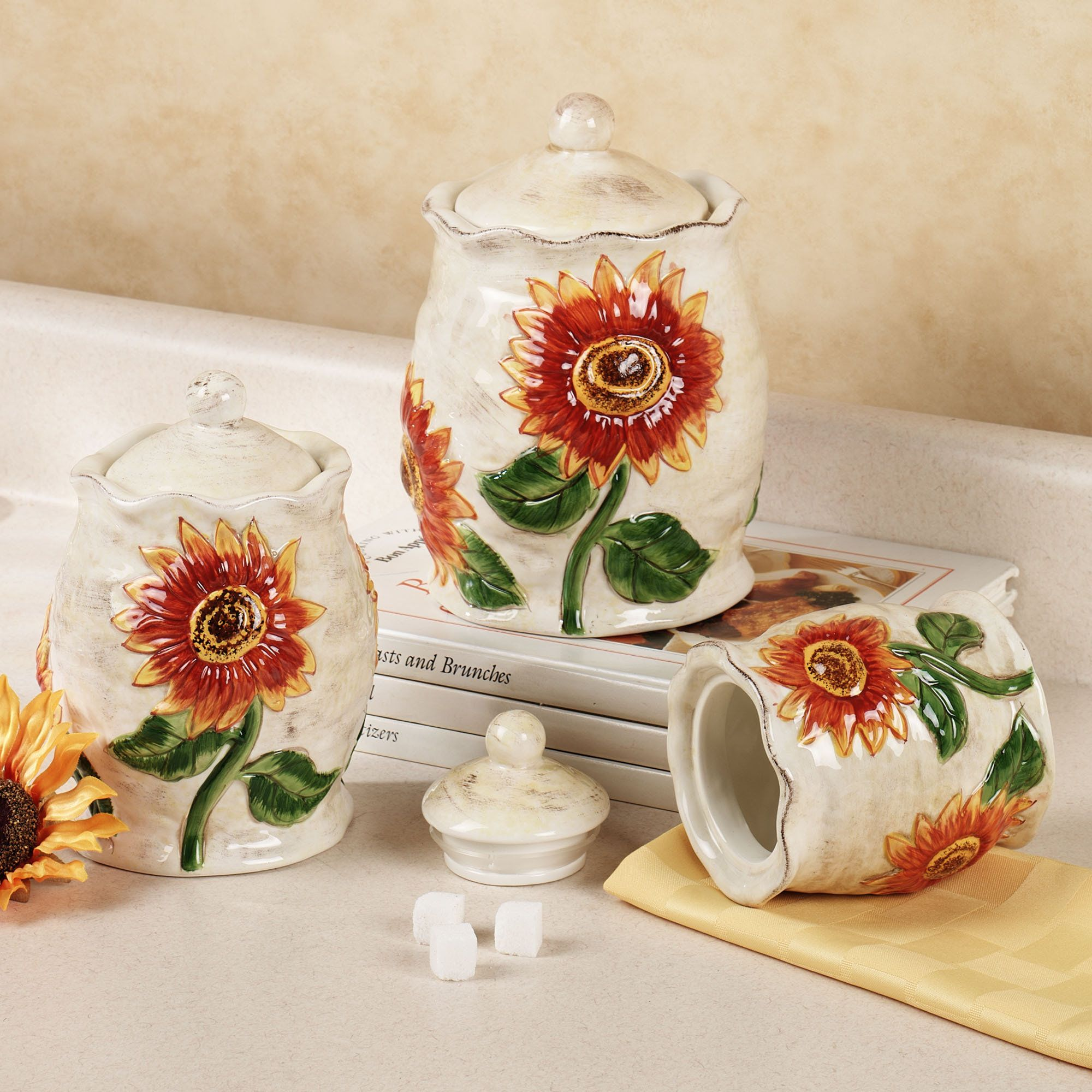 Certified international parisian fruit canister by susan winget set - Sunflower Ceramic Kitchen Canister Set