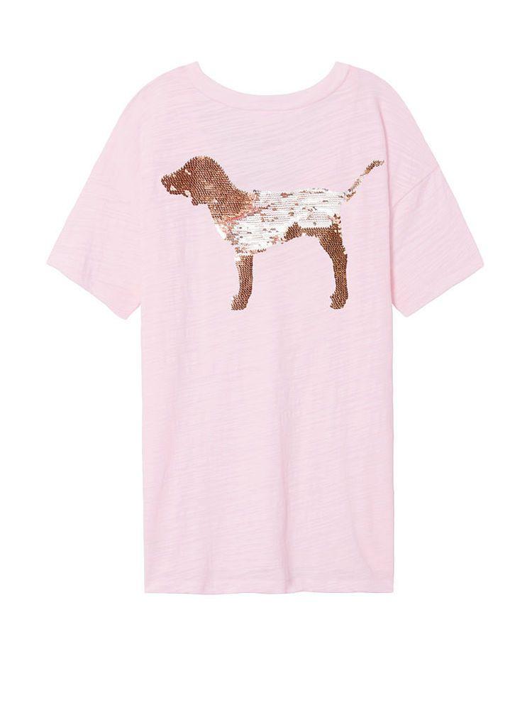 NEW Victoria Secret PINK V/_Neck Tee Shirt Top Dog Logo  L