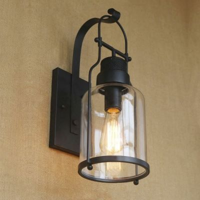 Rustic Loft Style Industrial Metal Lantern Wall Sconce In Black Finish Faroles Walle Casitas