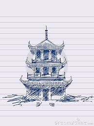 Chinese Temple Drawing Google Search Chinese Pagoda