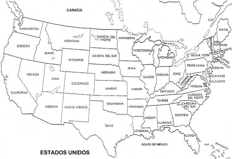 Mapa De Estados Unidos En Espanol en blanco y negro | COLOREA TUS ...