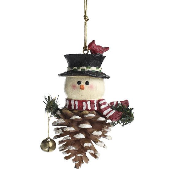 Pinecone Snowman Ornament - Sales