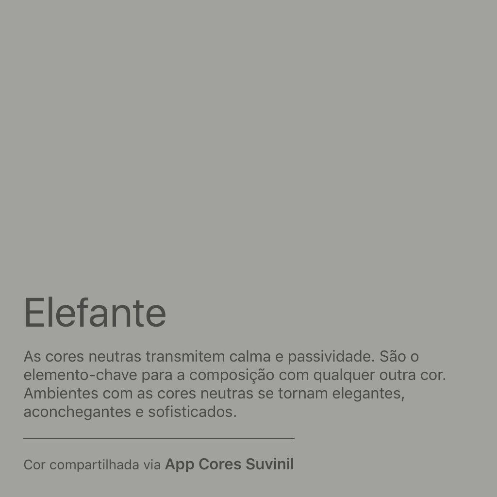 Minha nova cor predileta é Elefante. Gostou? Baixe o App Cores Suvinil e se inspire com as cores Suvinil. https://www.suvinil.com.br/pt/familias/aplicativos/