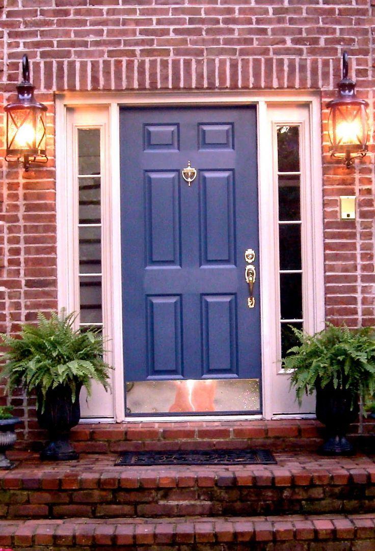 Front door paint colors for brick house - Blue Doors Color Blue Brick Exterior Blue Front Doors Door Colors
