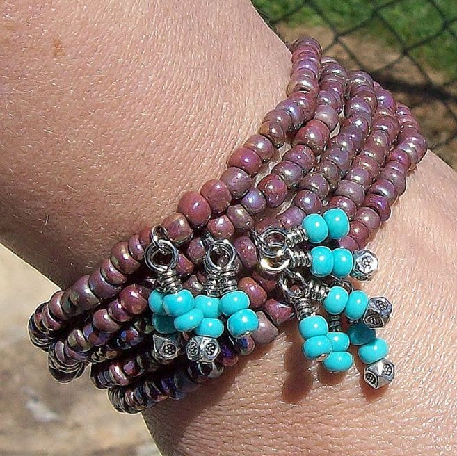 Purple Rainbow with Turquoise Dangles -  Bohemian Gypsy Stack Stretch Bracelets. $27.00, via Etsy.