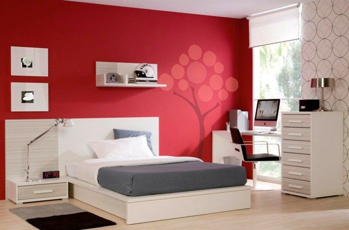 Colour design bedroom decoration wall color red wall stickers wall ...