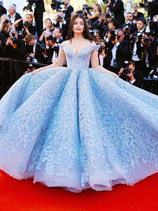 Aishwarya Rai Bachchan in Michael Cinco attends the Okja screening during the 70th annual Cannes Film Festival on May 19, 2017.